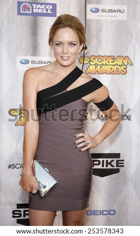Caity Lotz at the Spike TV's 2011 Scream Awards held at the Gibson Amphitheatre in Universal City on October 15, 2011. - stock photo
