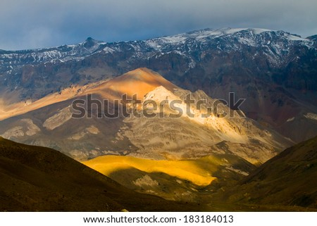 Cajon del Maipo canyon and Embalse El Yeso, Andes, Chile - stock photo