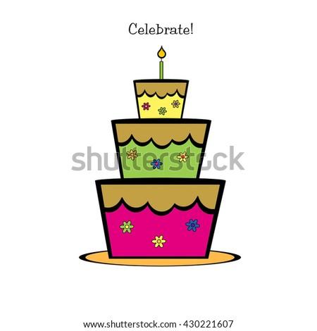 Cake and Candle - Celebrate! - stock photo