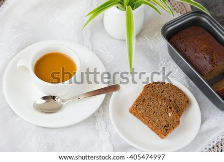 Cake and cup of coffee - stock photo
