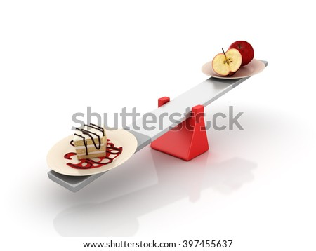 Cake and Fruit Balancing on a Seesaw - Balance Concept - High Quality 3D Render  - stock photo
