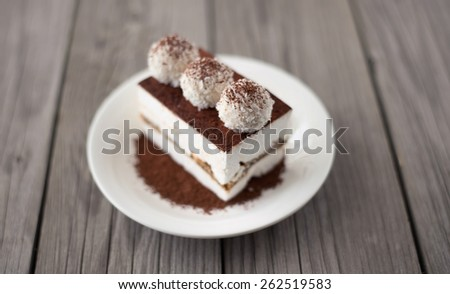 Cake as a morning meal. Tasty food background - stock photo