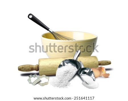 Cake Baking Preparation Tools - stock photo