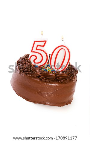 Cake: Birthday Cake Celebrating 50th Birthday - stock photo