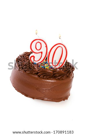 Cake: Birthday Cake Celebrating 90th Birthday - stock photo