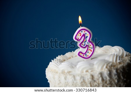 Cake: Birthday Cake With Candles For 3rd Birthday - stock photo
