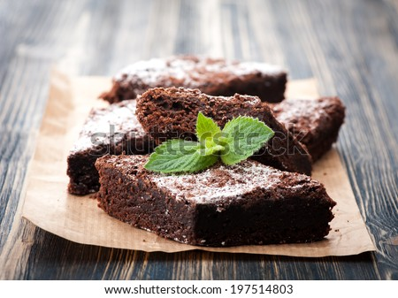 Cake chocolate brownies on wooden background  - stock photo