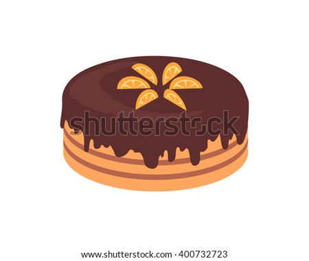 Cake chocolate isolated design flat. Cake and birthday cake, chocolate cake, dessert and cookies, chocolate and food, sweet cake birthday, delicious cake cream, tasty cake, pastry cake illustration - stock photo