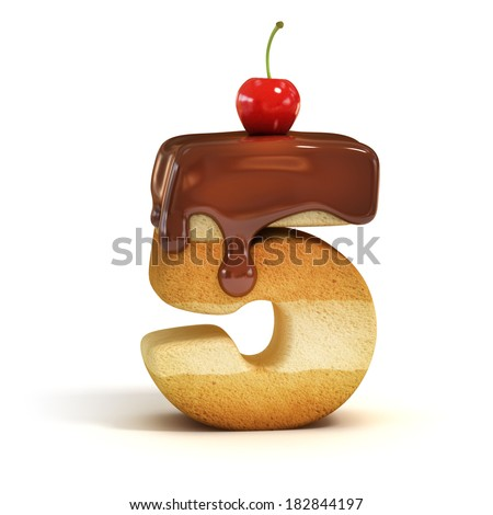 cake 3d font number 5 - stock photo