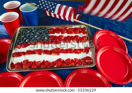 Cake decorated with blueberries and strawberries to look like the American flag - stock photo