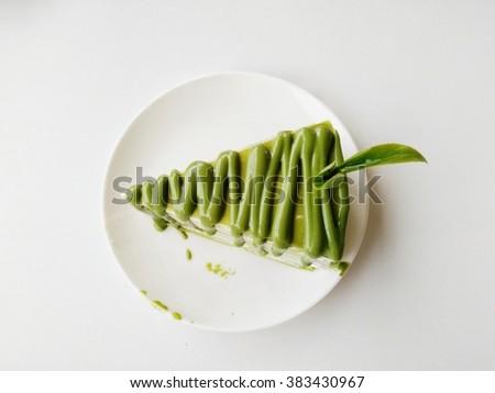 Cake green tea - stock photo