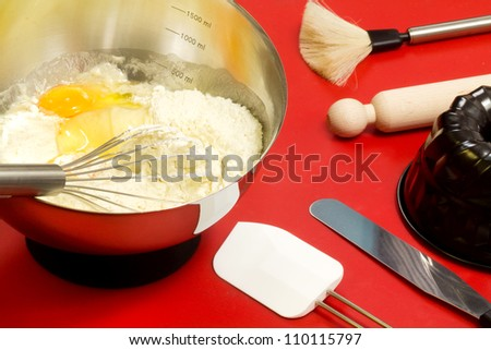cake mixture and confectioner utensils - stock photo