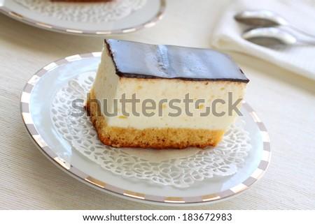 Cake of a souffle with glaze - stock photo