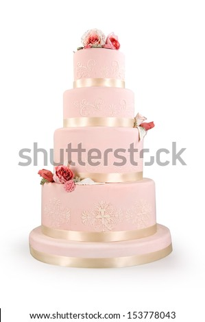 cake of bride and groom - stock photo