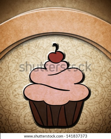 Cake on old paper card - stock photo