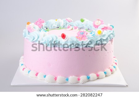 cake or Ice cream birthday cake on a background - stock photo
