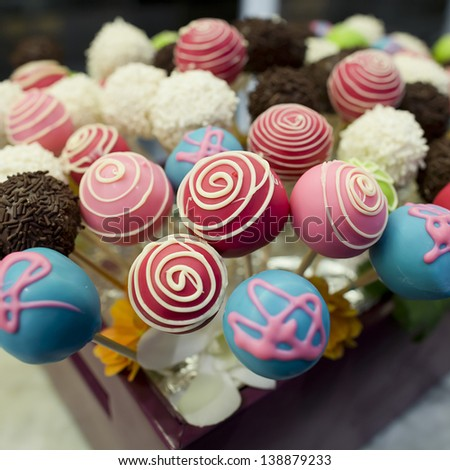 Cake pops - candy sticks - stock photo