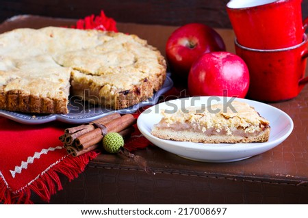 Cake with apple filling, selective focus - stock photo
