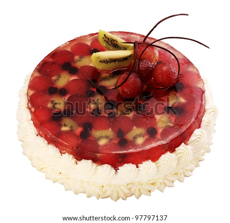 Cake with berries on the white background - stock photo