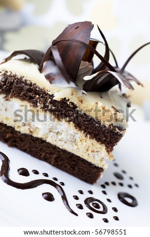 Cake with black and white chocolate - stock photo