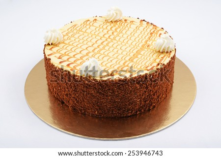 Cake with cream on isolated white background. - stock photo
