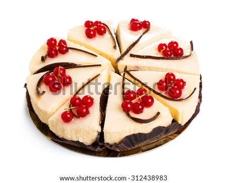 Cake with currant berry isolated on white background - stock photo