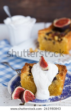 Cake with figs and marzipan.selective focus - stock photo