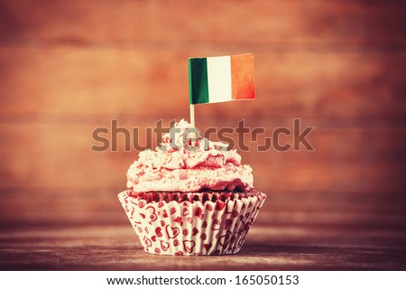 Cake with Italian flag. Photo in vintage color style - stock photo