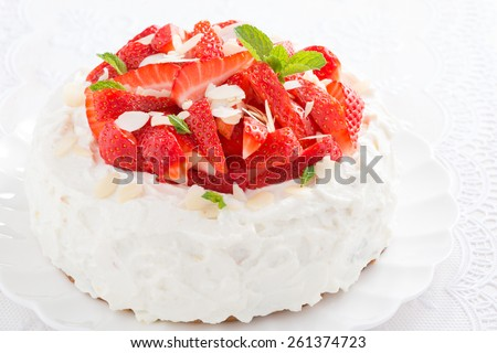 cake with whipped cream and strawberries, close-up, horizontal - stock photo