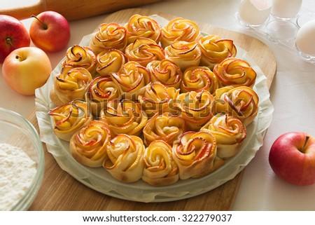 Cakes Apple Roses - stock photo