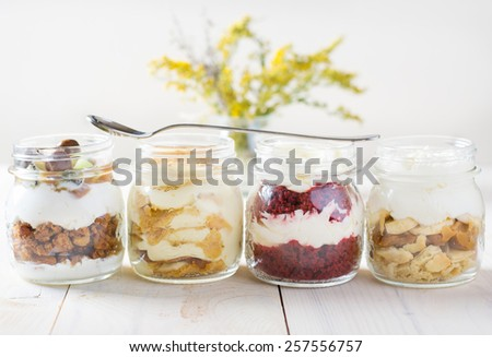 Cakes in a glass jars - stock photo