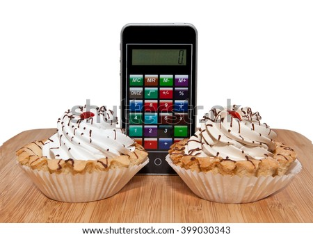 Cakes tarts with a calculator. The concept of counting calories. - stock photo