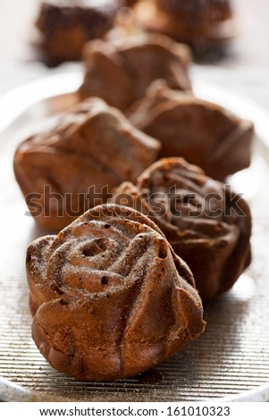 Cakes with icing sugar - stock photo