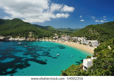 Cala de Sant Vicent on the North East of Ibiza, Spain - stock photo