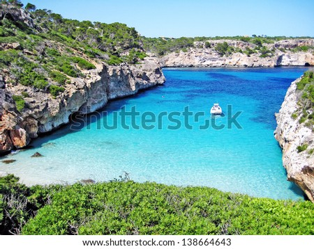Cala des Moro, beautiful bay with clear blue water on the isle majorca, spain - stock photo