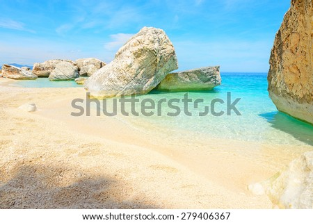 Cala Mariolu rocks on a clear day, Sardinia - stock photo