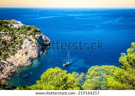 Cala Tarida in Ibiza beach San Jose at Balearic Islands - stock photo