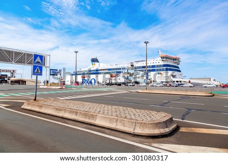 CALAIS, FRANCE - JUNE 26, 2015: PandO Ferry in the Port of Calais. Its a British company that operates ferries from UK to Ireland and Continental Europe -France, Belgium, the Netherlands and Spain- - stock photo