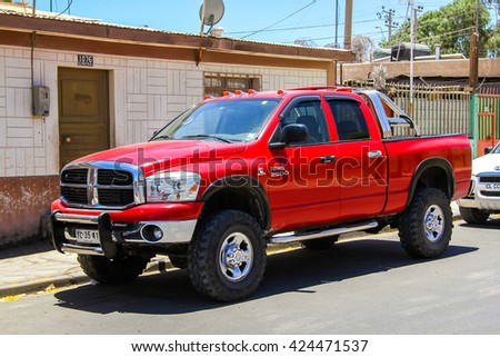 CALAMA, CHILE - NOVEMBER 16, 2015: Pickup truck Dodge Ram 2500 in the city street. - stock photo