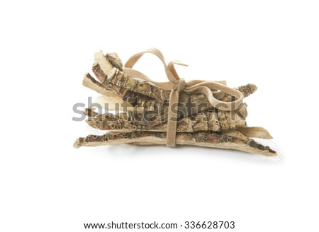 Calamus root or Sweet Flag. Flagroot (Acorus calamus). Ayurveda and Alternative Medicine - Mytle Grass. Medical Dry Herbs and Roots - stock photo