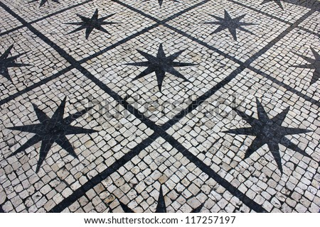 Calcada portuguesa, Portuguese pavement - stock photo