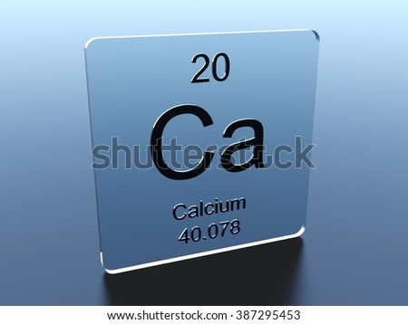 Calcium symbol on a glass square - stock photo