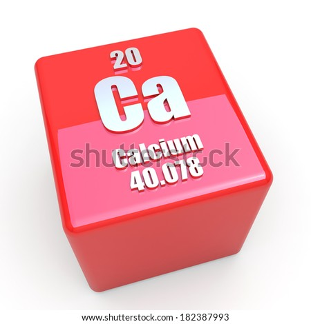 Calcium symbol on glossy red cube - stock photo