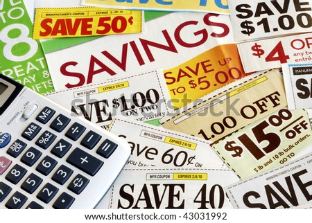Calculate how much we save by clipping coupons - stock photo