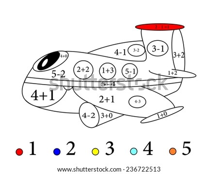 Calculate the examples and cheerful color the image plane - illustration. - stock photo