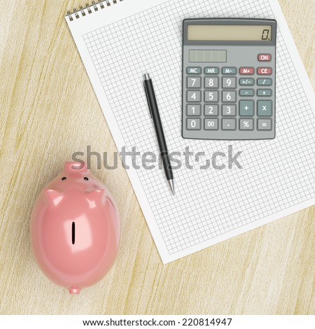 Calculating at home savings concept - stock photo