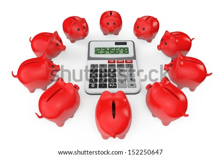 Calculating Savings Concept. Piggy Banks with calculator on a white background - stock photo