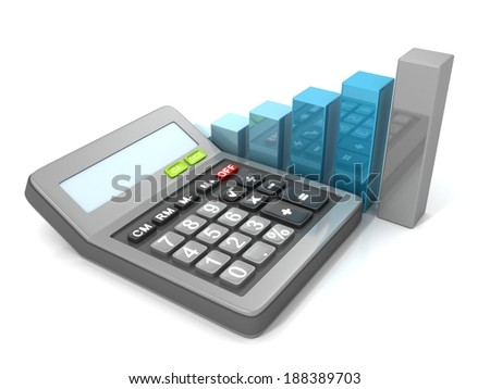 Calculator and bar graph diagram. Business concept 3d render illustration - stock photo