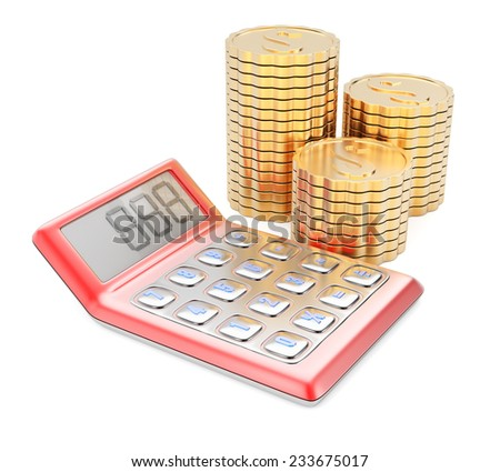Calculator and coins isolated on white background. 3d render - stock photo