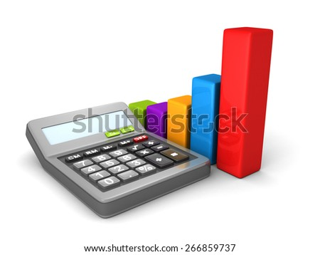 Calculator And Colorful Business Bar Chart. 3d Render Illustration - stock photo